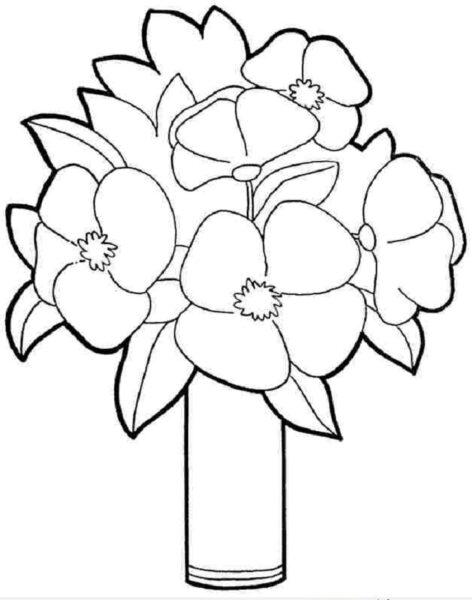 Tranh tô màu hình bó hoa đẹp