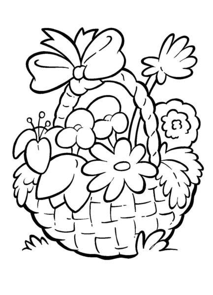 Tranh tô màu hình giỏ hoa