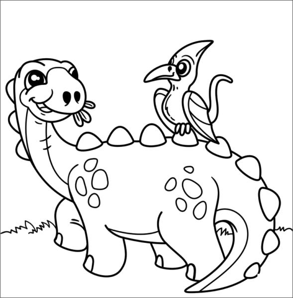 Tranh tô màu khủng long ăn cỏ và khủng long bay