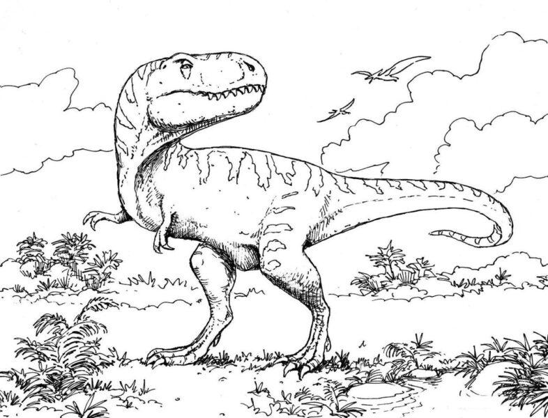 Tranh tô màu khủng long bạo chúa đang đi săn mồi