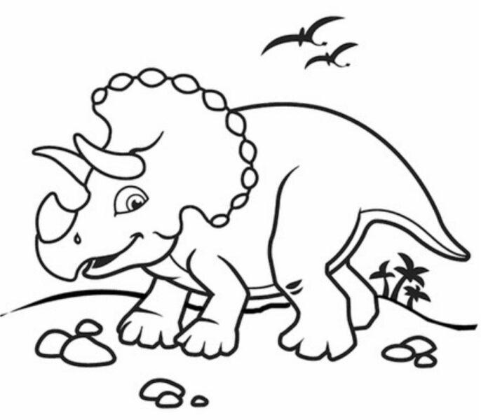 Tranh tô màu khủng long có ba sừng