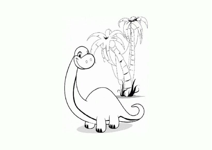 Tranh tô màu khủng long cổ dài con