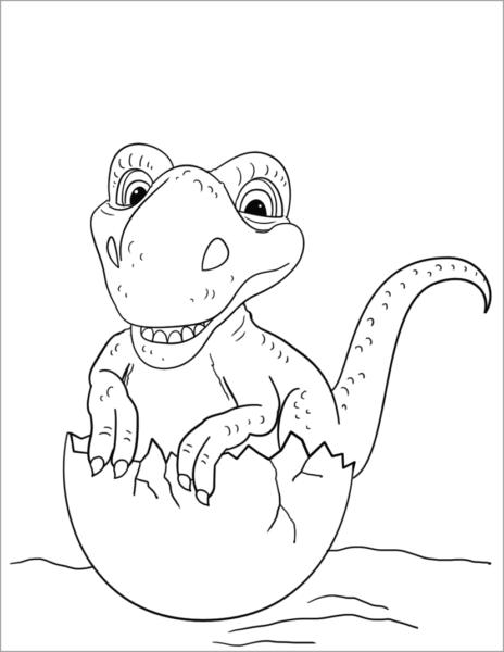 Tranh tô màu khủng long con đang nở