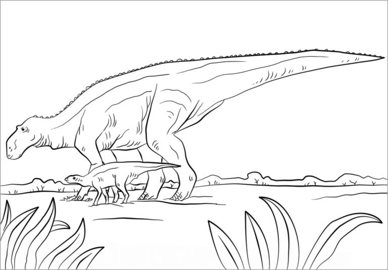 Tranh tô màu khủng long mẹ và khủng long con