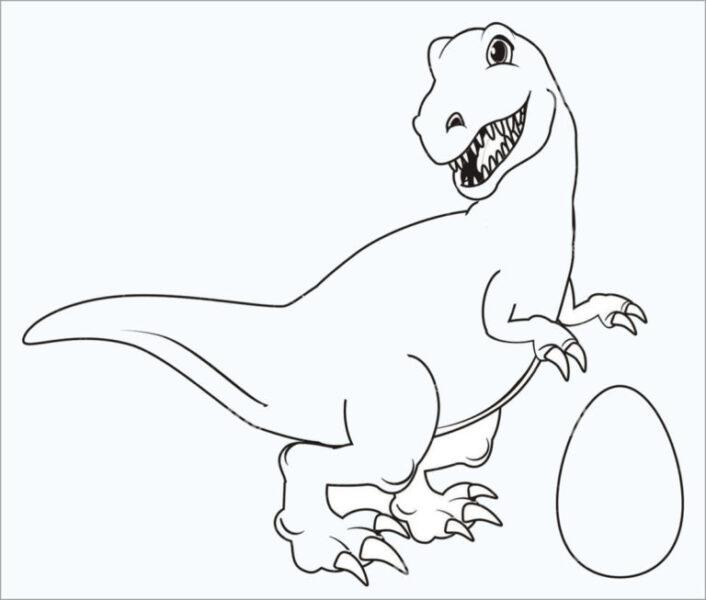 Tranh tô màu khủng long và quả trứng