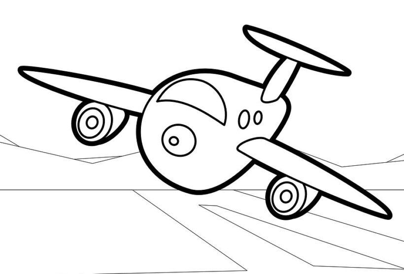 Tranh tô màu máy bay đang hạ cánh