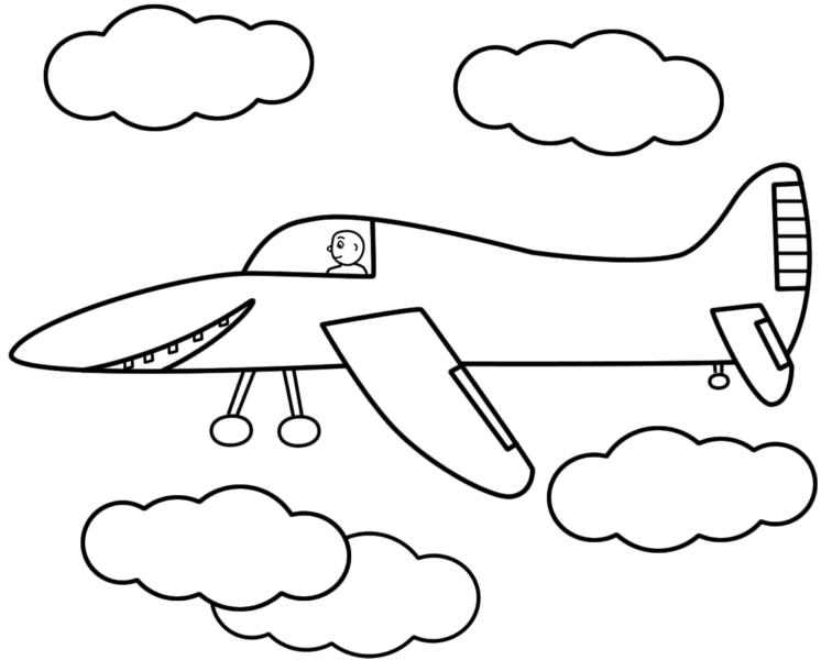 Tranh tô màu máy bay và những đám mây