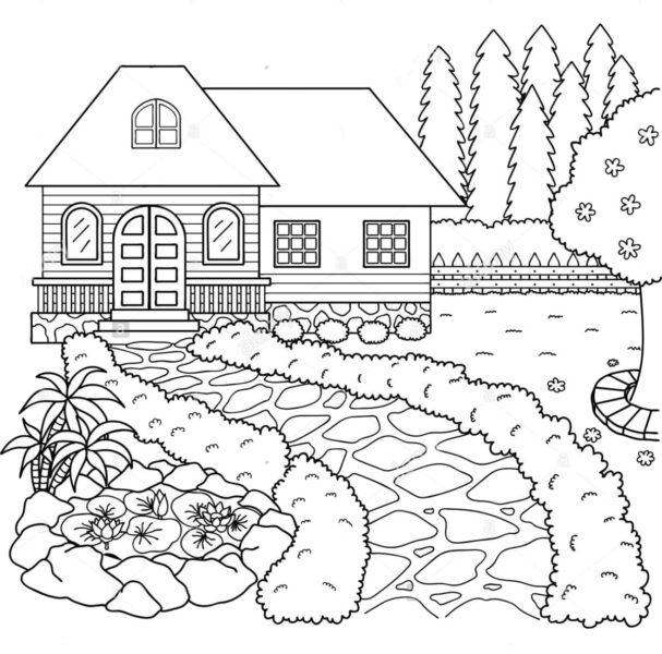 tranh tô màu ngôi nhà xinh đẹp cho bé 5-7 tuổi