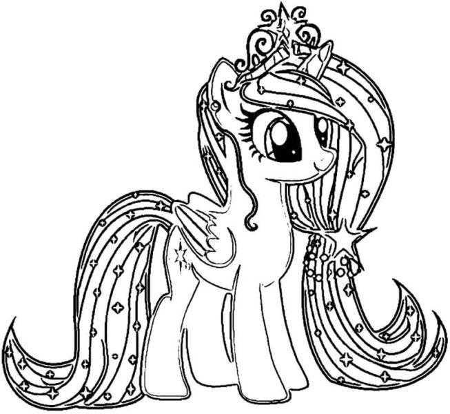 Tranh tô màu ngựa pony đáng yêu