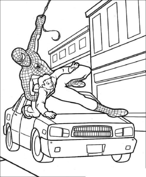 Tranh tô màu người nhện cứu người