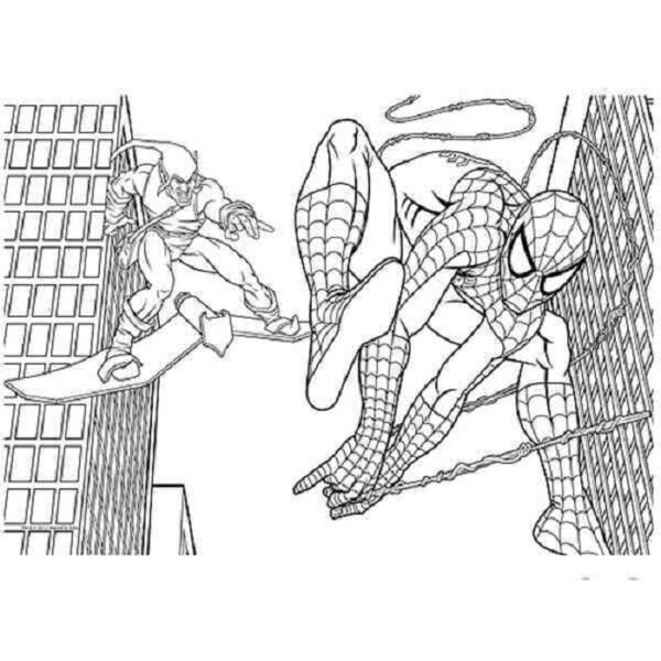 Tranh tô màu người nhện đang chiến đấu