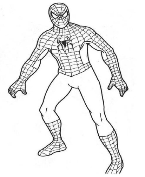 Tranh tô màu người nhện đang đi
