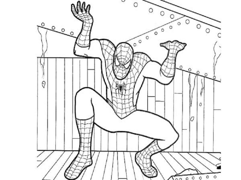 Tranh tô màu người nhện đang đỡ vật nặng