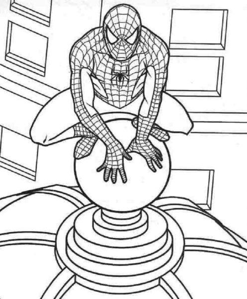 Tranh tô màu người nhện đang ngồi trên lóc một oà nhà