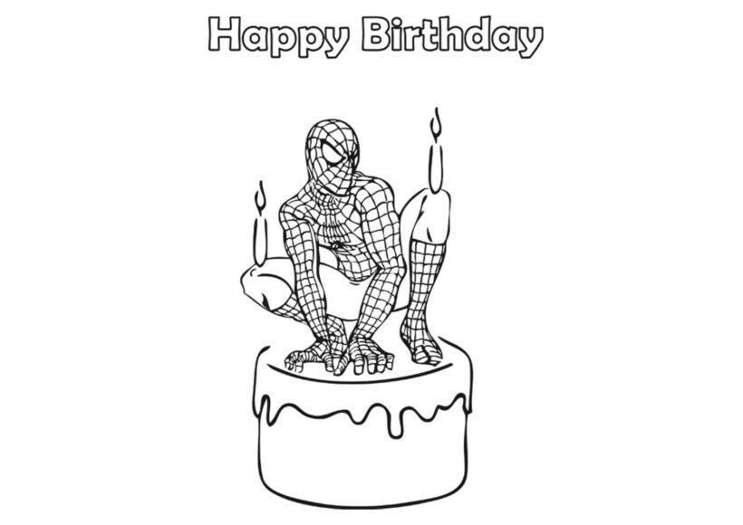 Tranh tô màu người nhện ngồi trên chiếc bánh sinh nhật