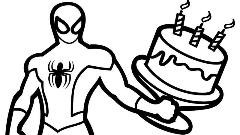 Tranh tô màu người nhện và chiếc bánh sinh nhật