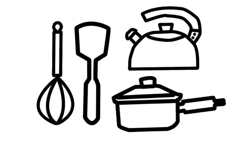 Tranh tô màu những vật dụng nhà bếp của gia đình