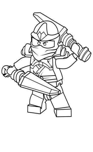 Tranh tô màu ninjago hai tay hai kiếm