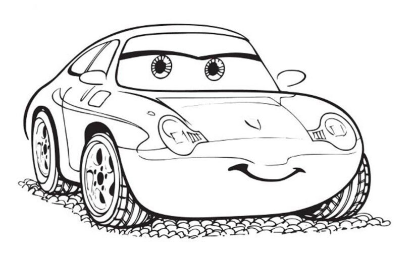 Tranh tô màu ô tô hoạt hình cho bé trai