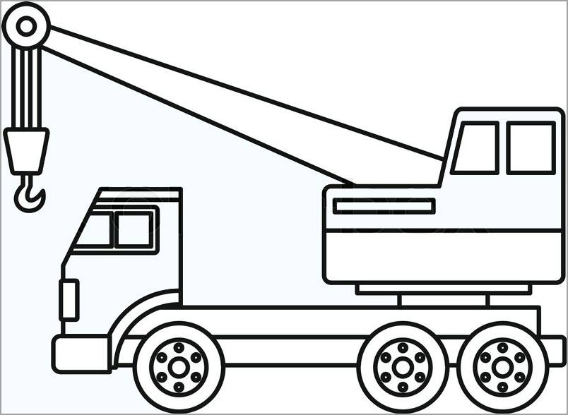 Tranh tô màu ô tô máy cẩu cho bé