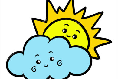 Tranh tô màu ông mặt trời và đám mây đẹp, ngộ nghĩnh nhất