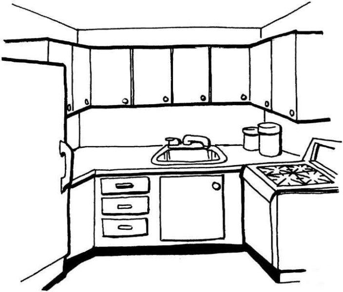 Tranh tô màu phòng nhà bếp của gia đình