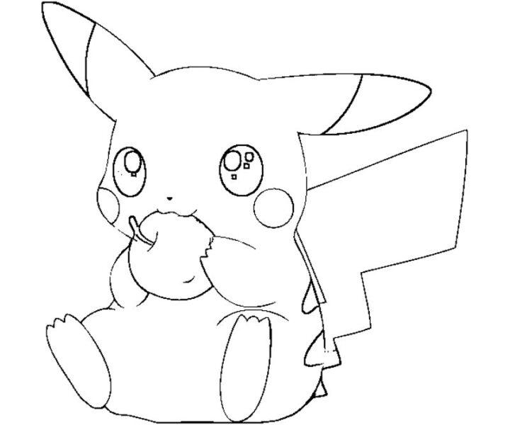 Tranh tô màu pikachu ăn táo
