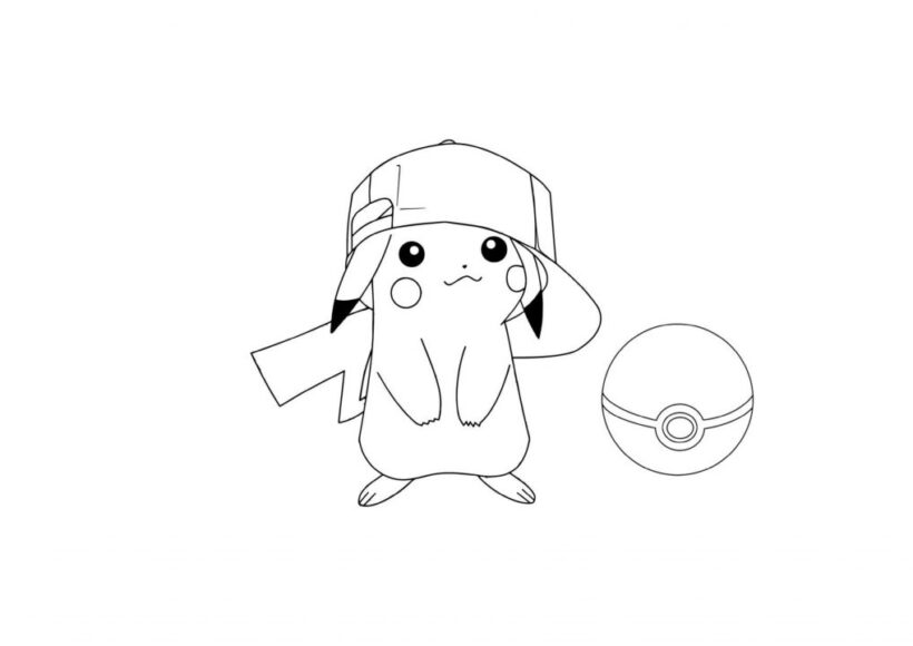 Tranh tô màu pikachu đội mũ
