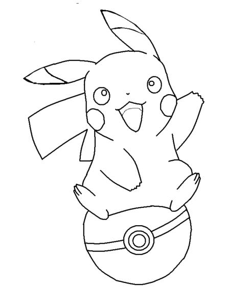 Tranh tô màu pikachu ngồi trên quả cầu