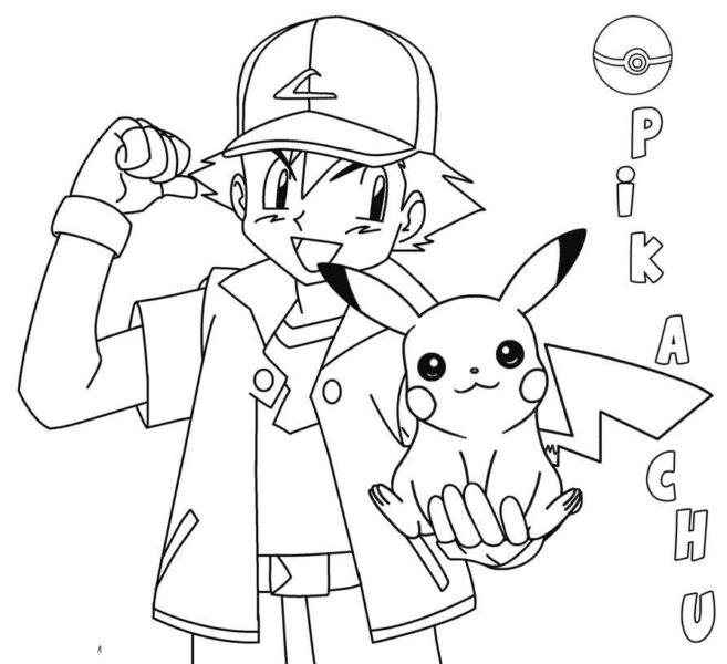 Tranh tô màu pikachu ngồi trên tay cậu bạn satoshi