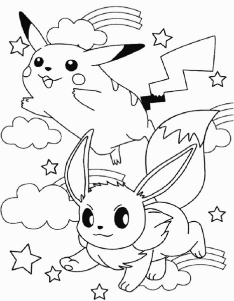 Tranh tô màu pikachu và một pokemon khác đang chiến đấu