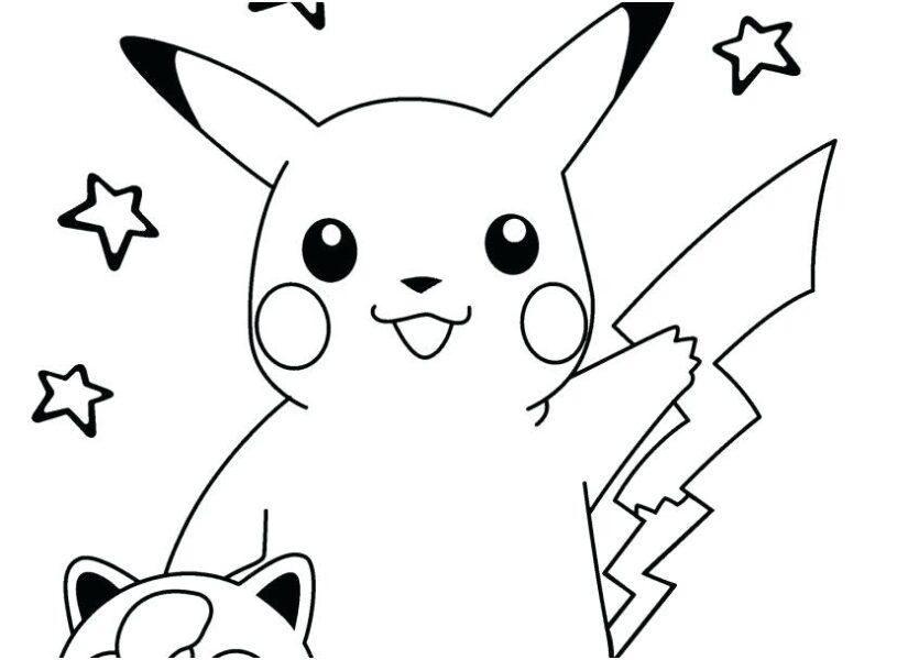 Tranh tô màu pikachu và những ngôi sao