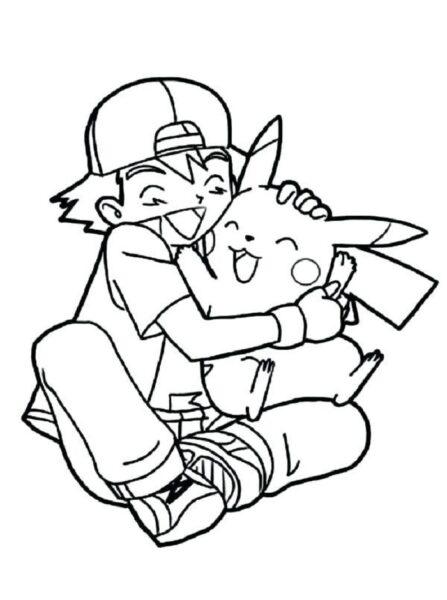 Tranh tô màu pikachu và satoshi ôm nhau hạnh phúc