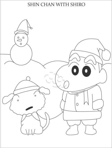 Tranh tô màu Shin cậu bé bút chì đang cùng con chó đi chơi tuyết
