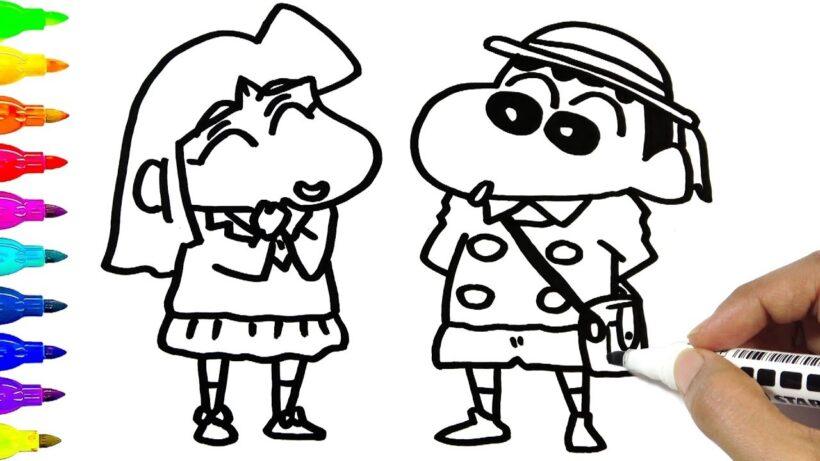 Tranh tô màu Shin cậu bé bút chì đang đi học cùng bạn