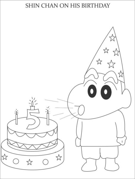 Tranh tô màu Shin cậu bé bút chì đang thổi nến sinh nhật 5 tuổi