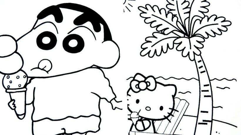 Tranh tô màu Shin cậu bé bút chì dễ thương nhất