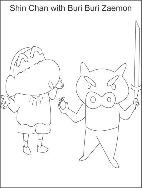 Tranh tô màu Shin cậu bé bút chì và bạn hình vẽ đơn giản