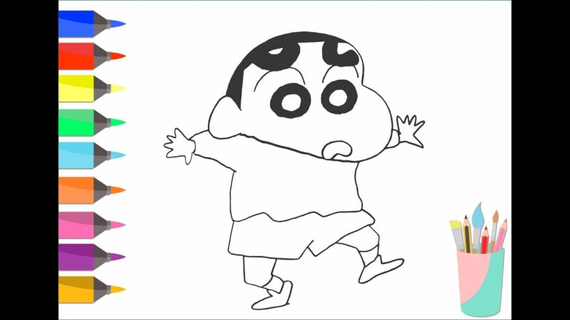 Tranh tô màu Shin cậu bé bút chì và những chiếc bút