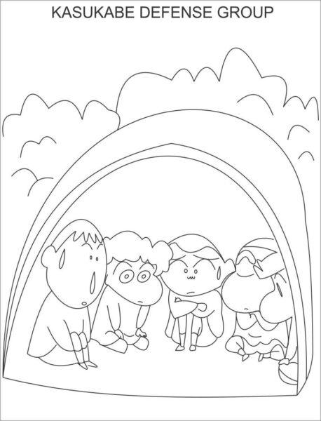 Tranh tô màu Shin cậu bé bút chì và những người bạn đang ngồi chơi với nhau