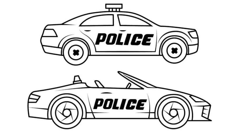 Tranh tô màu xe cảnh sát ấn tượng nhất