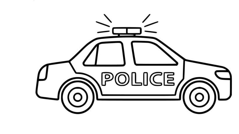 Tranh tô màu xe cảnh sát đang rú còi