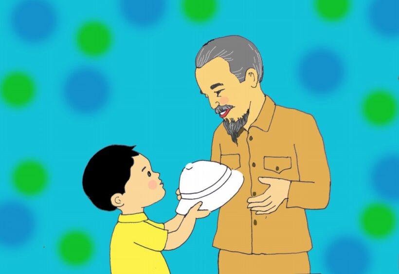 tranh vẽ cậu bé trò chuyện lễ phép với Bác