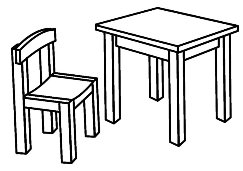 Tranh vẽ chưa tô màu bộ bàn ghế của gia đình