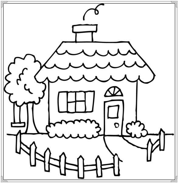 Tranh vẽ chưa tô màu ngôi nhà và ống khói cho bé trai