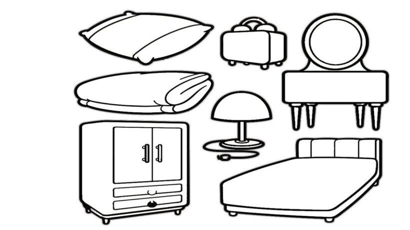 Tranh vẽ chưa tô màu những đồ trong phòng ngủ của gia đình