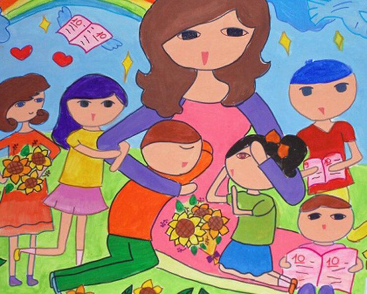 tranh vẽ cô giáo và những học sinh