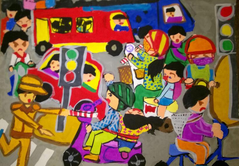 tranh vẽ đề tài an toàn giao thông ấn tượng