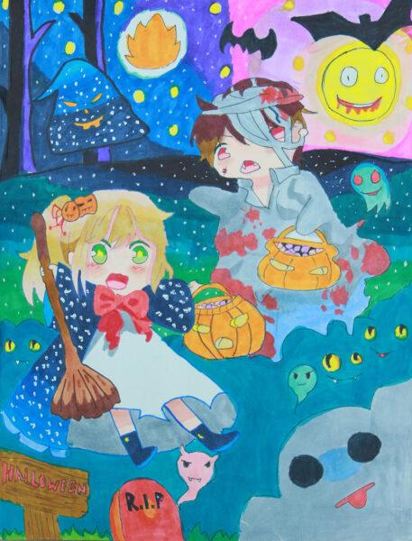 tranh vẽ đề tài halloween thú vị
