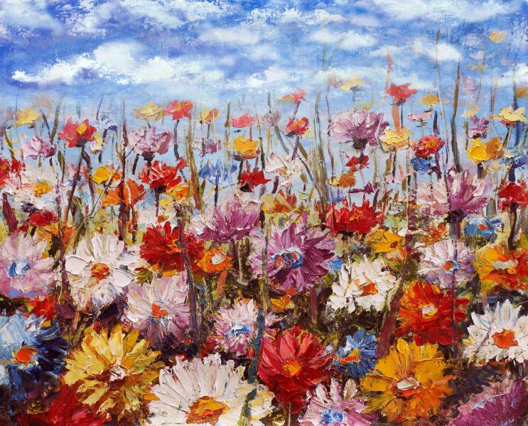 tranh vẽ đề tài mùa xuân ảnh vườn hoa cúc